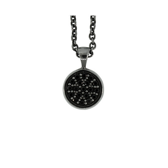 Blackened 18k White Gold Black Diamond Pendant Redondo - Mander Jewelry