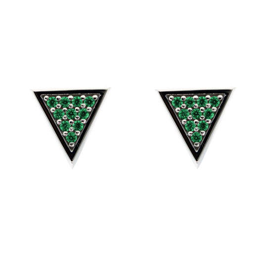 Silver Tres Puntos Earrings Emeralds - Mander Jewelry