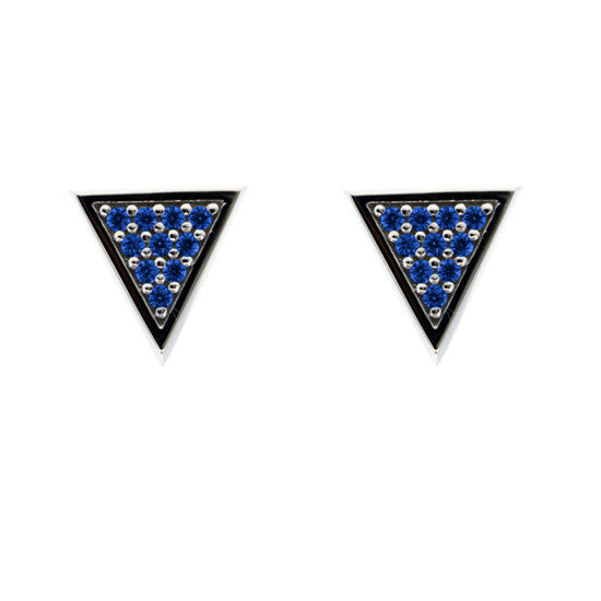 Silver Tres Puntos Earrings Blue Sapphires - Mander Jewelry