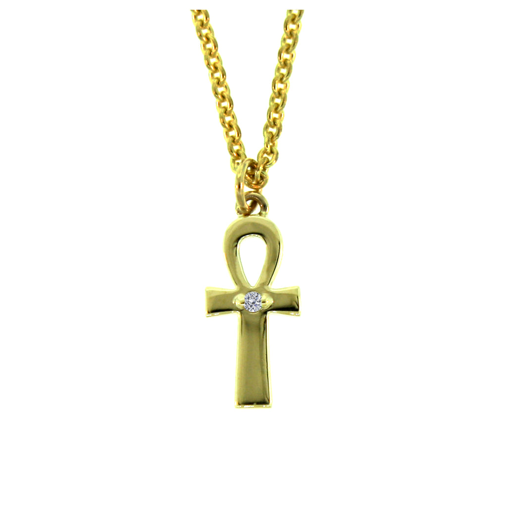 14k Yellow Gold Ankh Diamond Pendant and Chain Necklace for Women - Mander Jewelry