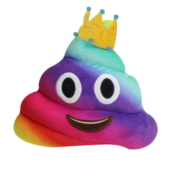 Crown Rainbow Poop Emoji Pillow - SnackBarShop