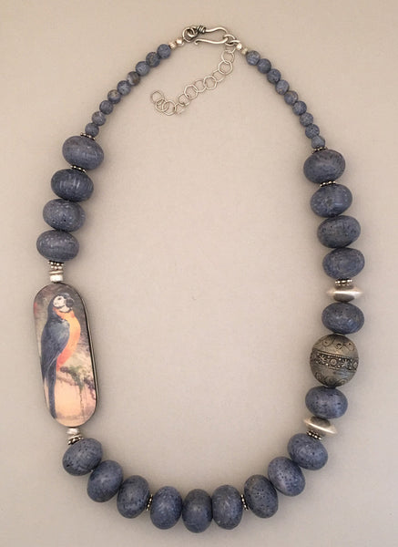 Single strand natural blue coral, antique and sterling silver statement necklace.  Handcrafted.