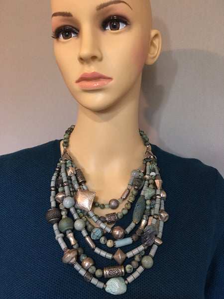 Multi-Strand Blue and Silver Statement Necklace