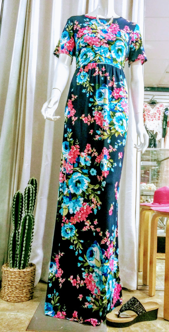 Women's Maxi Dresses Navy - Navy & Teal Floral Racerback Maxi Dress - Women - Little N Kute Boutique