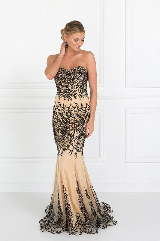 BLACK/NUDE STRAPLESS BEADED MERMAID GOWN BY ELIZABETH K  - Little N Kute Boutique