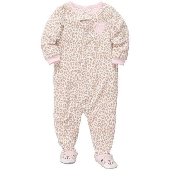 CARTER'S Baby Girl's Sleep and Play Footed Pajamas Cotton Footed SleeperLeopard Cat - Little N Kute Boutique