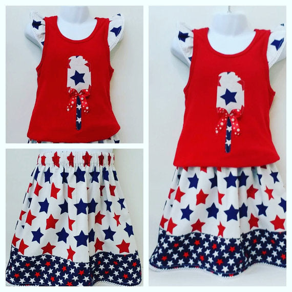 4th of July Girls 2 Piece Outfit Set Size 5 - Little N Kute Boutique