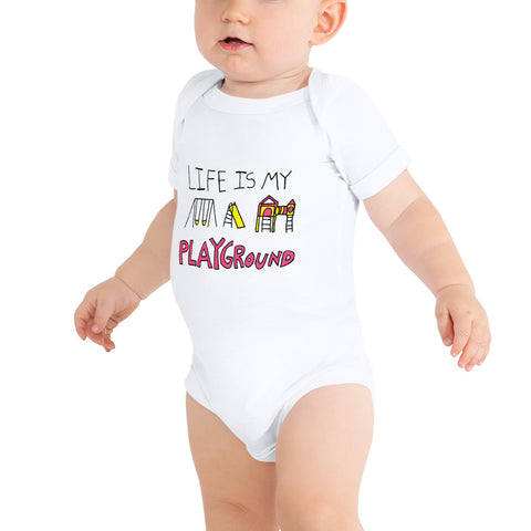 Life is My Playground Baby Infant Jersey Short Sleeve One Piece Onesie Bodysuit