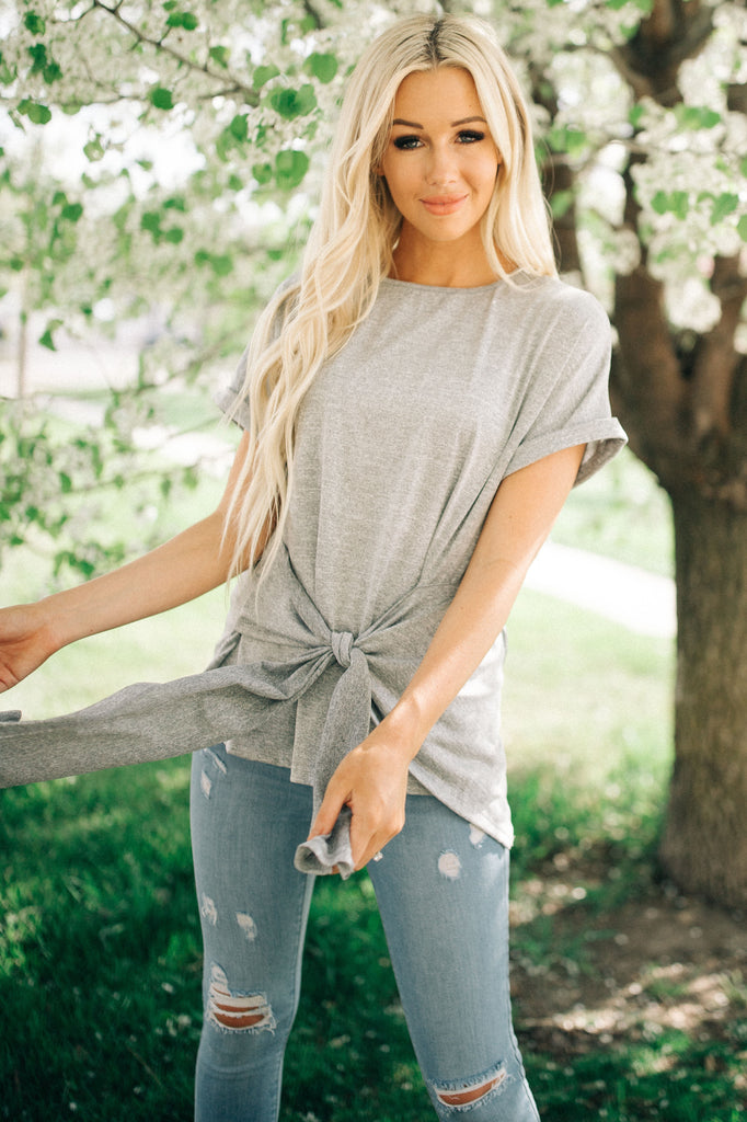 That's A Wrap Top - Gray