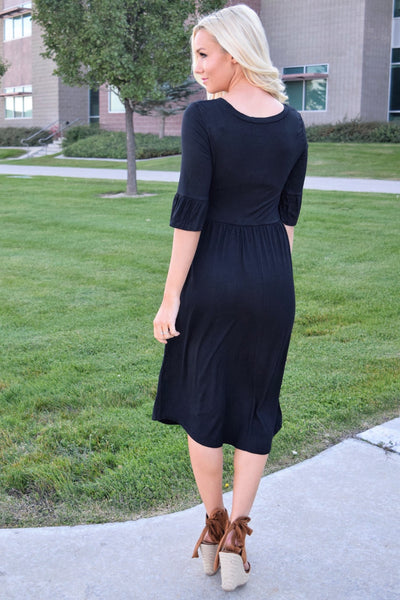 Black Ruffle Sleeve Midi Dress