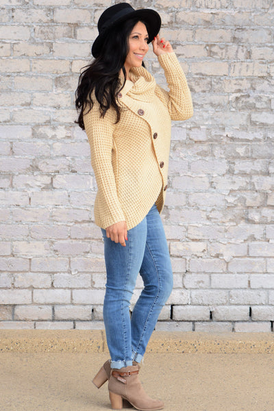 Cozy Up Turtle Neck Sweater - Beige