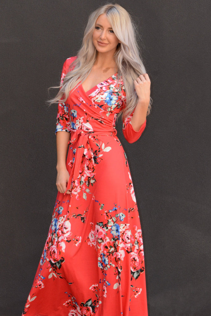 Floral Wrap Maxi Dress - Red