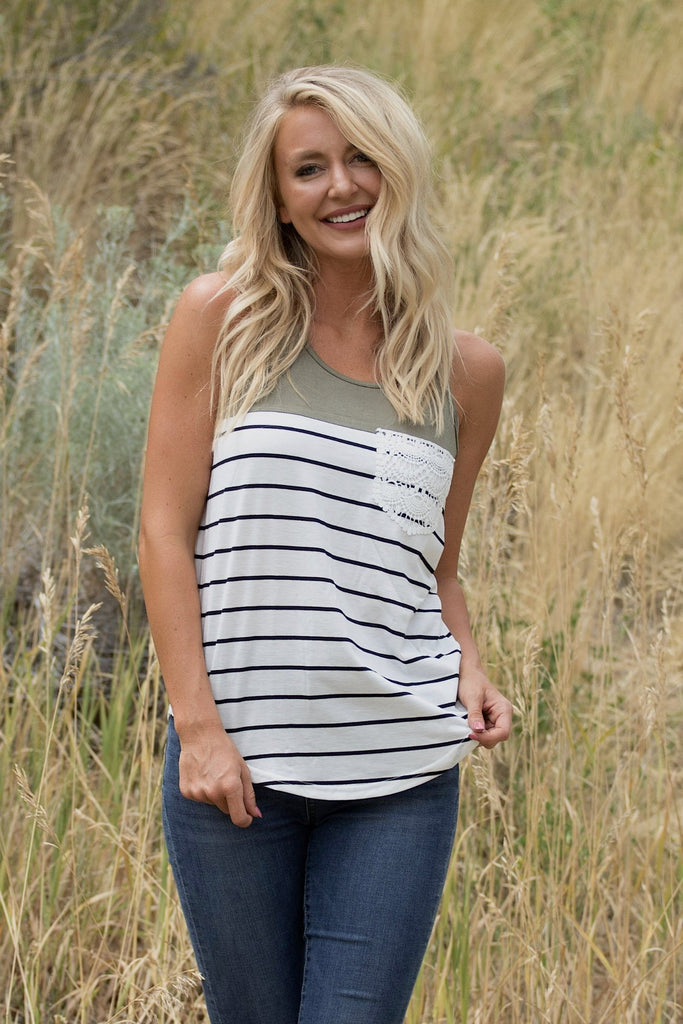 Fun Striped Pocket Tank - Olive