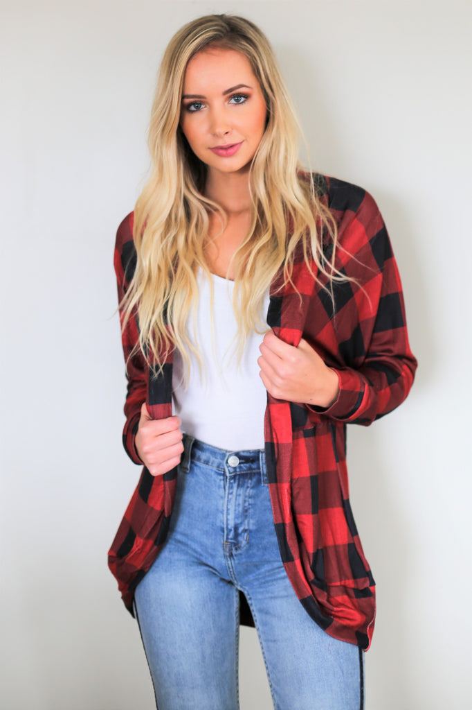 Mad For Plaid Cardigan - Red