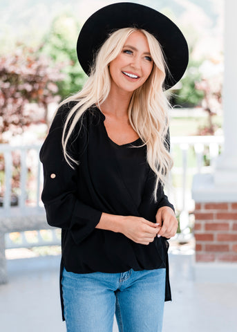 Drape Front Layered Blouse - Black