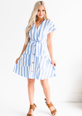 Mckenley Striped Dress - Blue