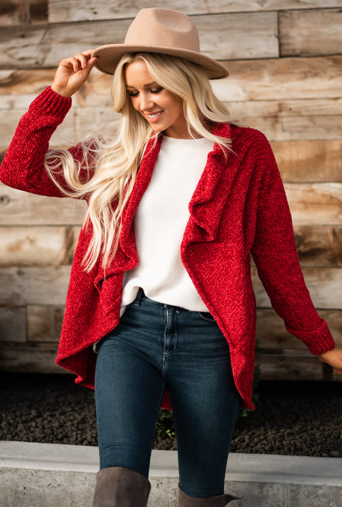 Warm Wishes Cardigan - Red