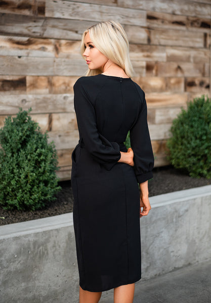 Puff Sleeve Pencil Dress - Black