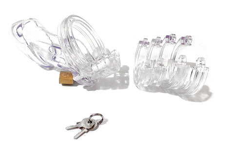Locking Transparent Rigid Plastic Male Chastity Cage with Adjustable Rings