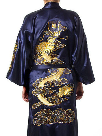 Unisex Adult's Bath Gown Silk Satin Embroidery Chinese Dragon Design