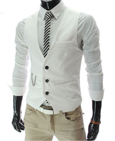 Men's Slim Fit Waistcoat Cotton Sleeveless Formal Casual Business