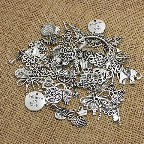 Mixed Silver Pendants 100pcs/lot for Handmade Charms and Jewelry