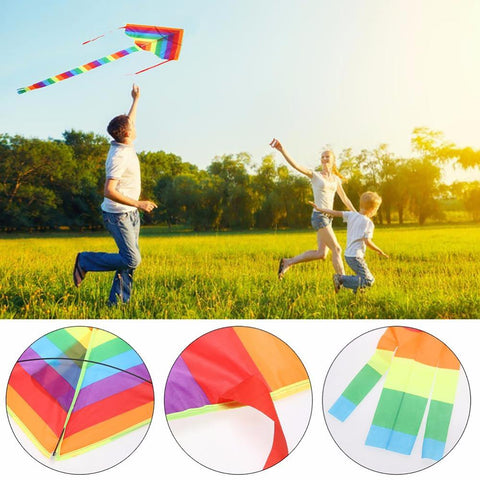 Children's Triangle Kite Toy Easy Fly Rainbow Sport Outdoor