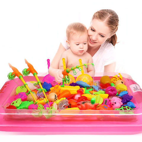 Kid's Magnetic Fishing Toy Set 40 pcs/set with Inflatable Pool Outdoor Toy