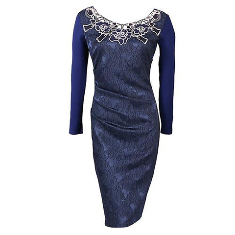 Women's Pencil Dress Embroidery Vintage Elegant Dobby Fabric Lace Hollow Out Ruched Bodycon for Evening Party