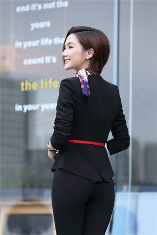 Women's Business Suit Fromal (Blazer+Pant+Belt+Scarf)