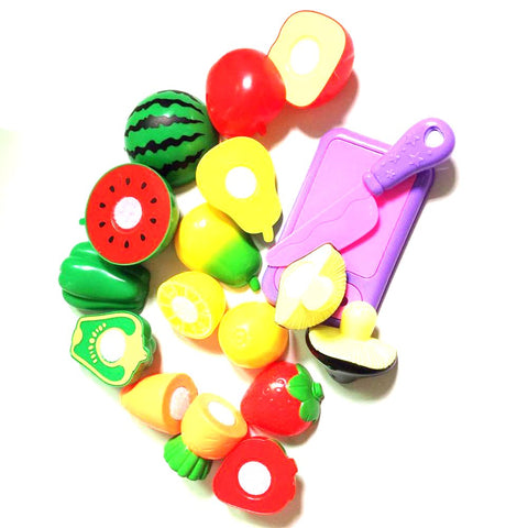 Kit's Kitchen Fruit Vegetable Cutting Set Toy Pretend Play Educational Cook Cosplay Safety 10pcs/set