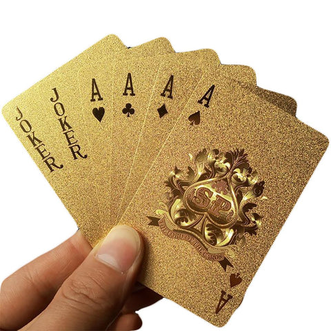 Golden Poker Playing Card with Golden Foil Plastic Durable Waterproof