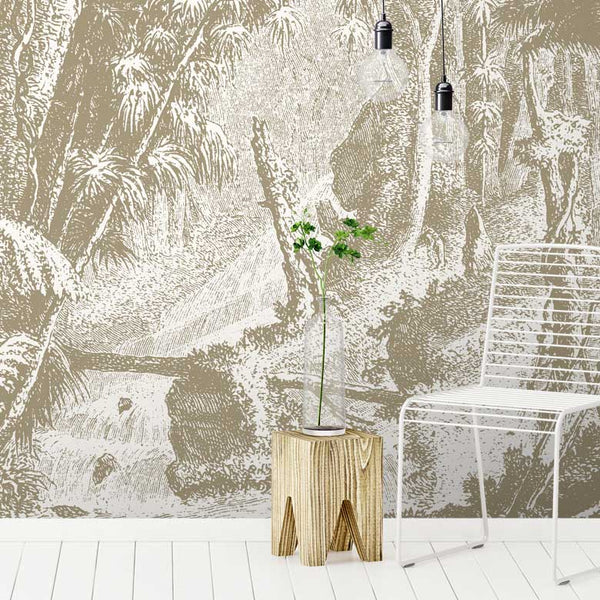Amazonia Jungle Wall Mural - Tan