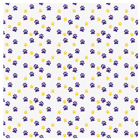 Purple & Gold Pawprints Printed Vinyl - Adhesive or Heat Transfer