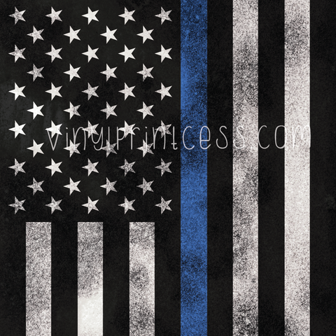 Grunge Thin Blue Line Flag #2 Patterned Vinyl - Craft Vinyl