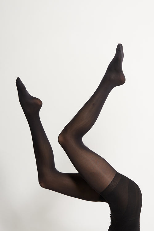 Black 60 Denier Support Tights - 2 Pack | Sustainable Hosiery| ECOMONO