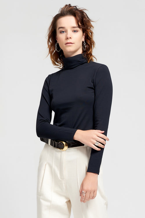 Black Long Sleeve Turtleneck | Ethical & Sustainable Fashion | ECO.MONO