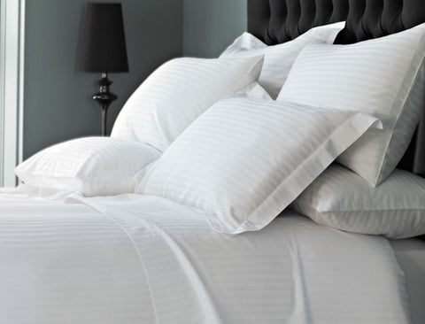 "Linen Obsession ""Real Hotel Linen"" Sateen Stripe in  White 300 Thread Count Cotton."