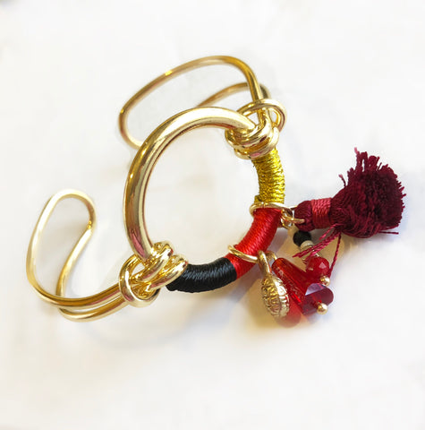 Anchor Me Tassel Bracelet Cuff Black Red Yellow