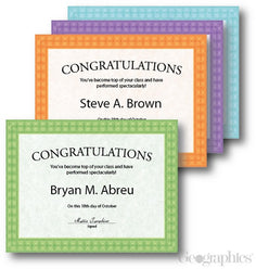 Assorted Fashion Certificates  --  40 Count