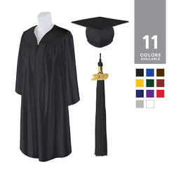 Adult Unisex Shiny Graduation Cap and Gown with Matching 2019 Tassel, Small