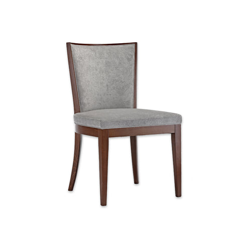 Adele Grey Cushioned Dining Chair with Brown Show Wood  SE01 RC1