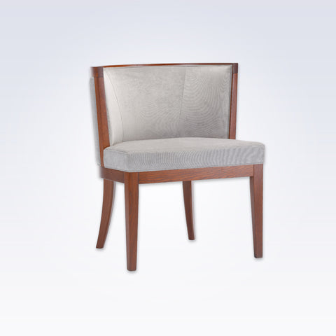 Adele Grey Tub Chair With Brown Show Wood Legs And Curved Back PO01 TC1