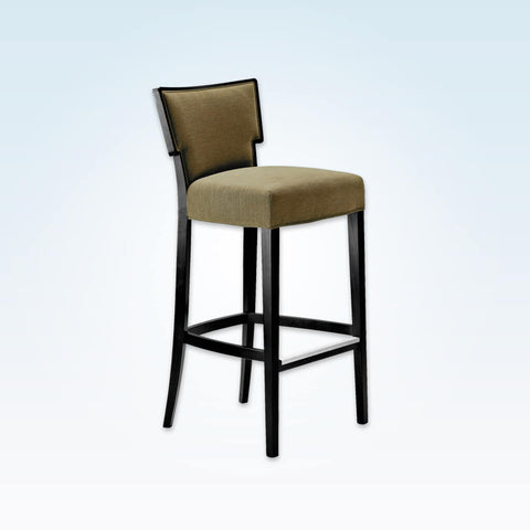 Alaska sage green bar stool with upholstered seat and backrest with a show wood trim 6002 BR1
