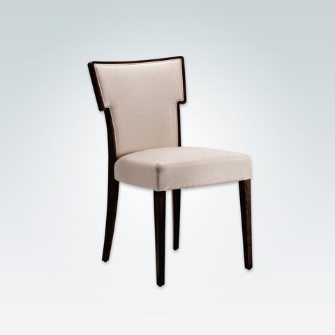 Alaska Cream Upholstered Chair Hammer Back Design with Dark Show Wood Edging running down into Back Legs 3007 RC1