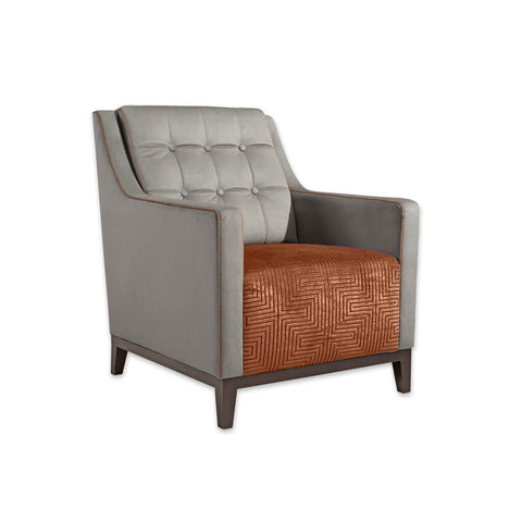 Arizona Two Tone Upholstered Burnt Orange Lounge Chair with Deep Cushioned Seat Button Detail and Piping 1050 LC1