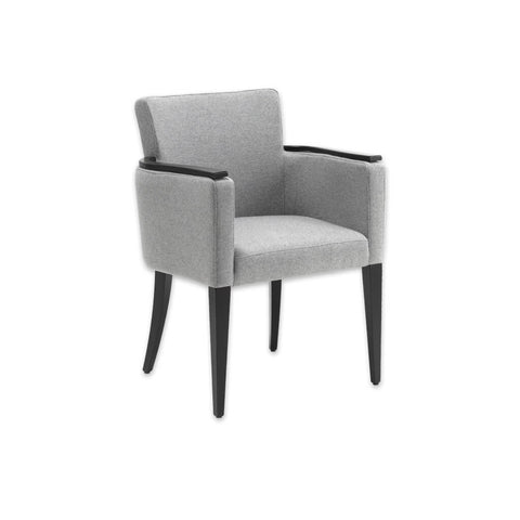 Bitonti Light Grey Tub Chair with High Show Wood Armrests and Tapered Legs 2027 TC1