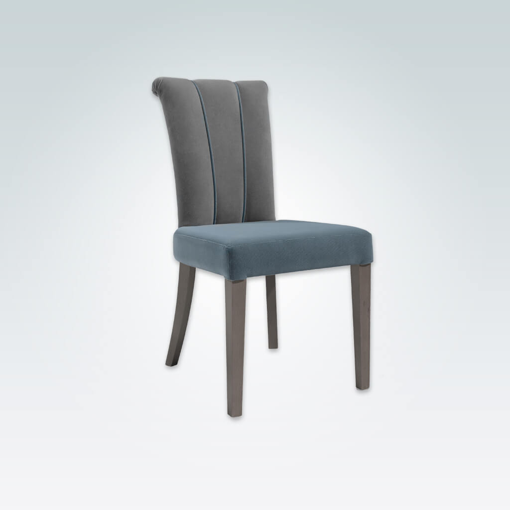 Bruelle Blue Upholstered Dining Chair with Fluted Back Upholstery Detail and Scroll Back 3056 RC2