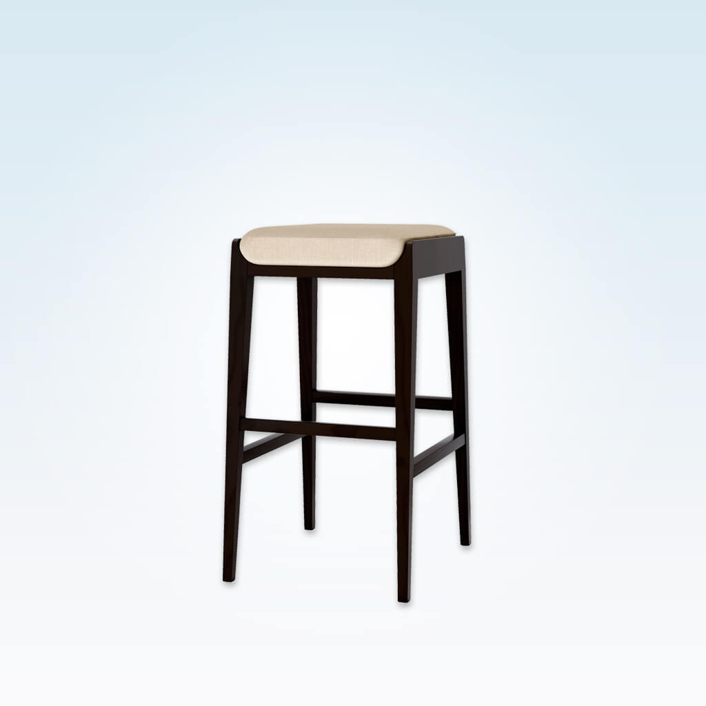 Mika ivory bar stools with padded cushion and dark wood plinth and legs 6021 BR2
