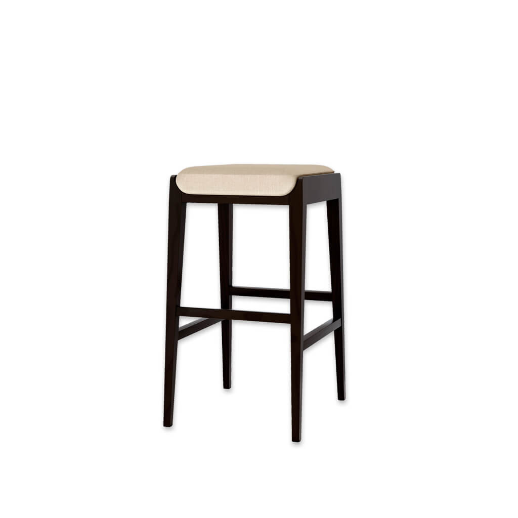 Mika ivory bar stools with padded cushion and dark wood plinth and legs 6021 BR2 - Designers Image
